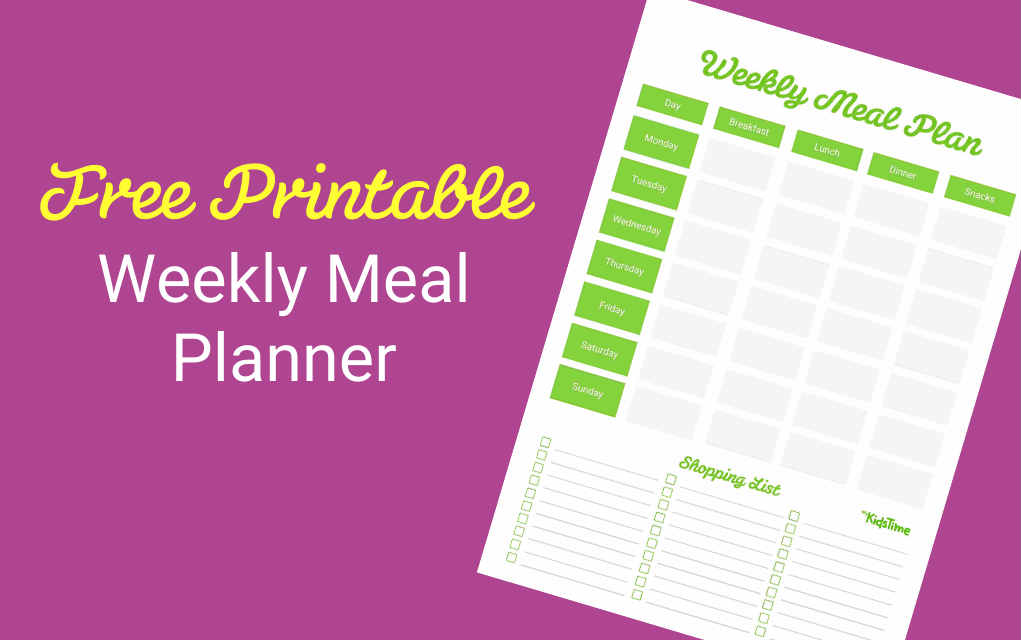 Download Your Free Weekly Meal Planner - Mykidstime