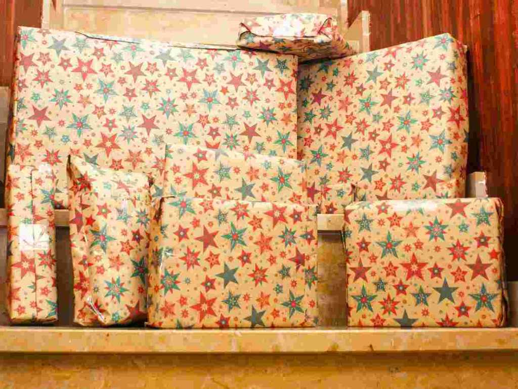 christmas presents in cupboard