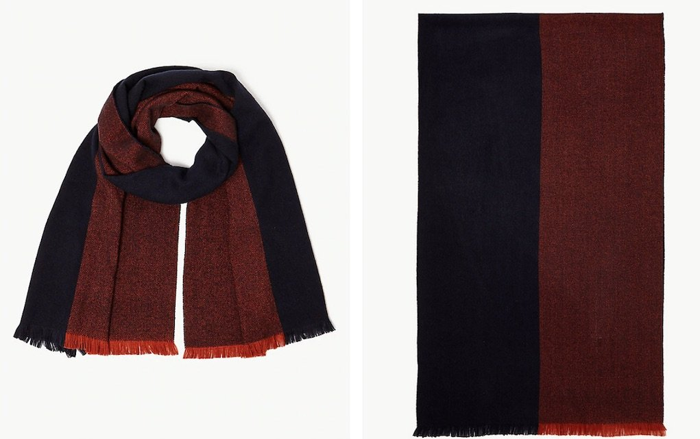 colour block textured scarf from M&S festive gifts for under €20