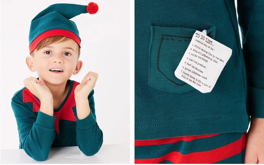 festive elf pyjamas from M&S mad about Christmas