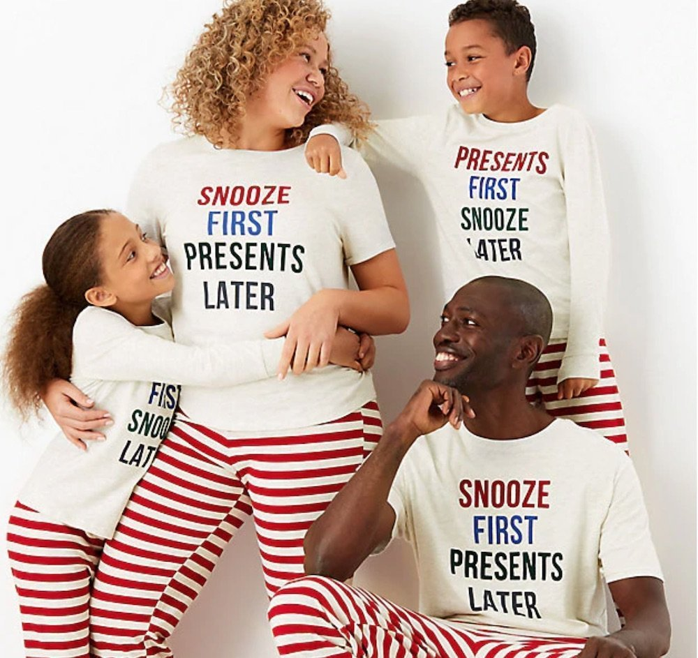 snooze first presents later m&s pjs Christmas crackers festive sleepwear