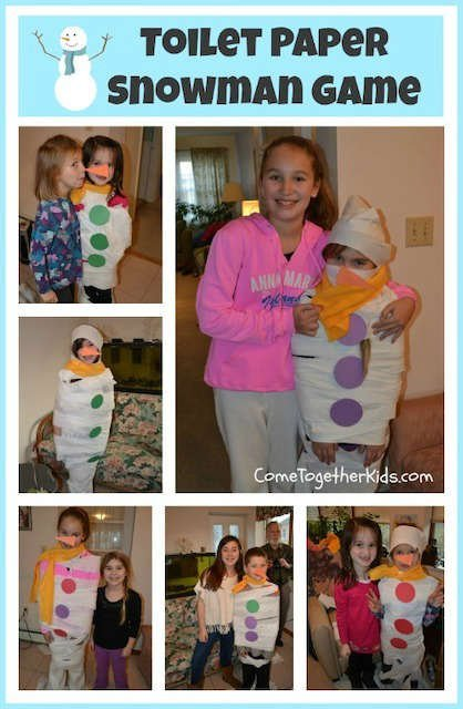 Christmas party games for kids build a snowman