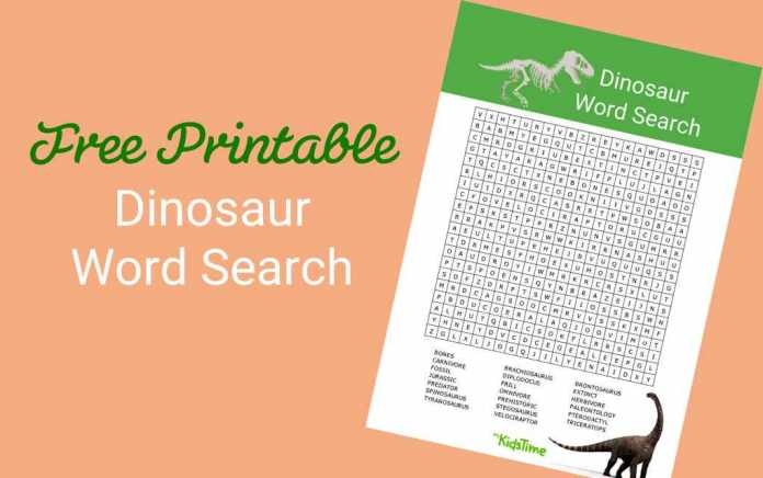 Dinosaur word search lead - Mykidstime