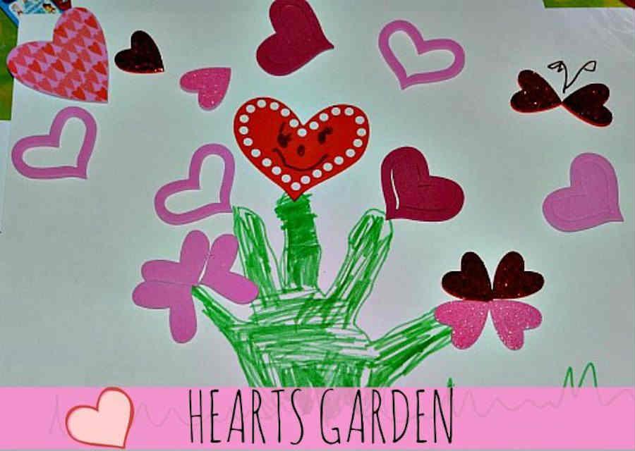 Valentine handprint garden painting