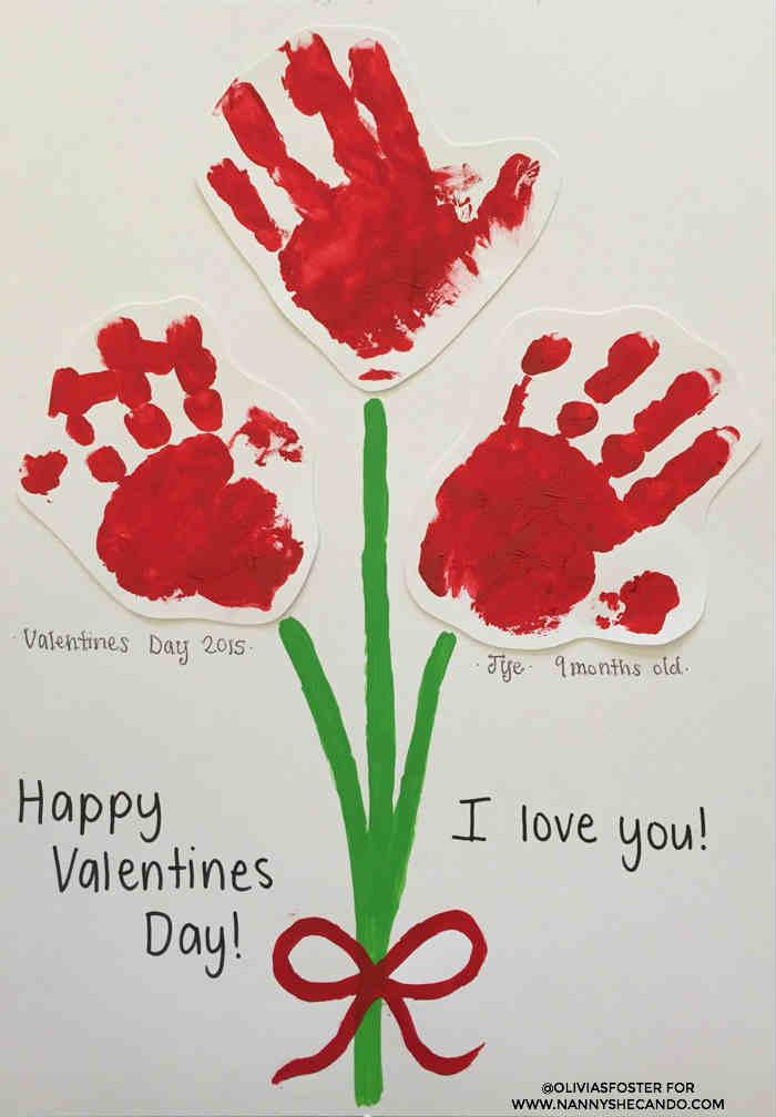 Handprint Valentine's Roses