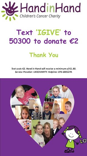 Hand in Hand I donate support for families in Ireland with childhood cancer