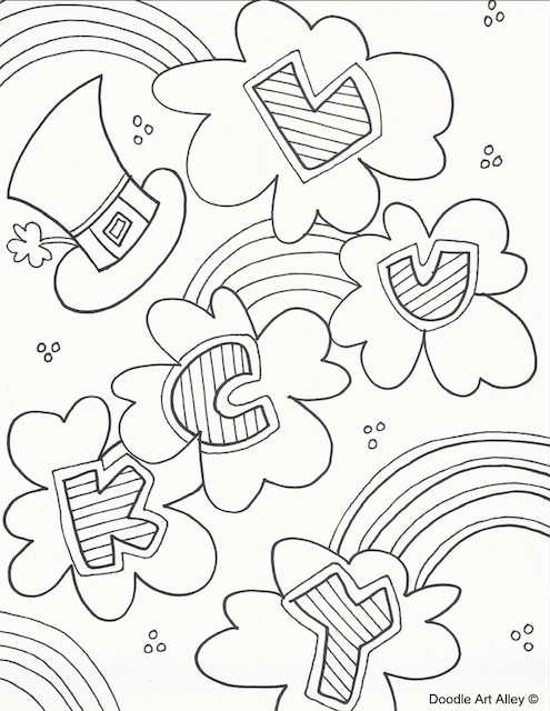 Lucky rainbow colouring page