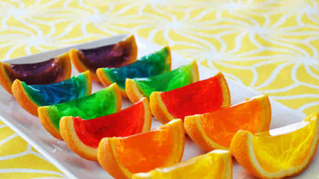 Rainbow jello wedges