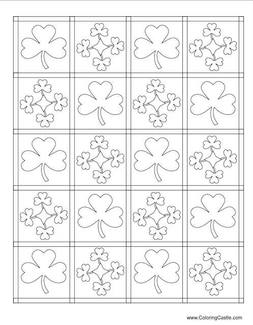 St Patrick's Day mosaic colouring page