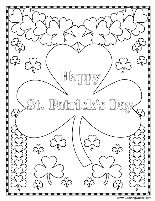 St Patrick's Day colouring shamrocks Coloring Castle