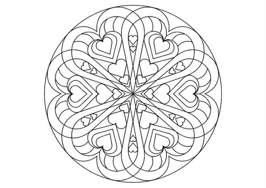 Hearts colouring pages