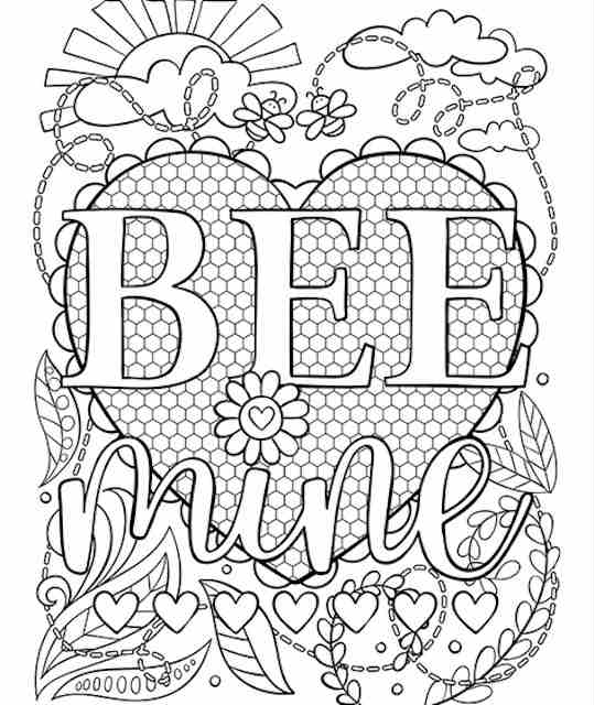 Bee Mine Valentine colouring