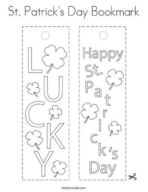 St Patrick's Day bookmarks Twisty Noodle