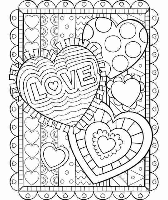 Valentine hearts colouring pages