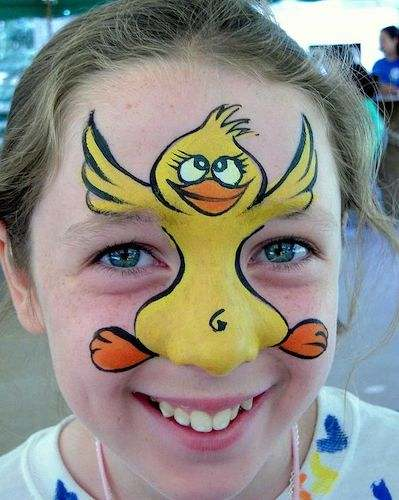 Amazing Face Art chick easter face paint (1)