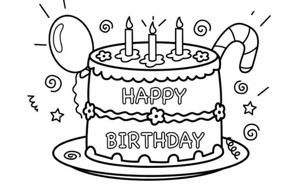 Happy Birthday colouring pages