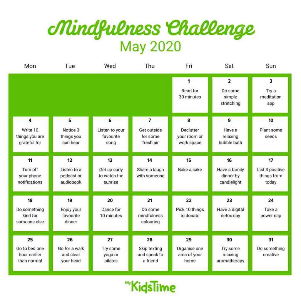 30-day Mindfulness Challenge - Mykidstime