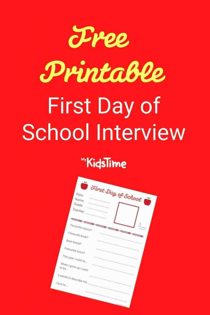 First day of school interview pinterest
