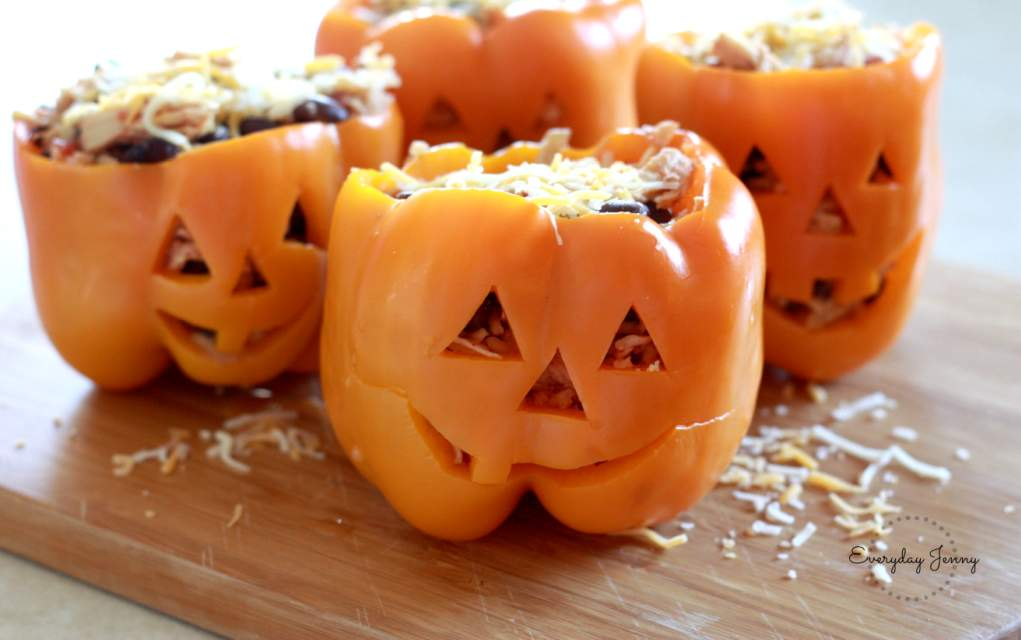 halloween peppers stuffed with rice