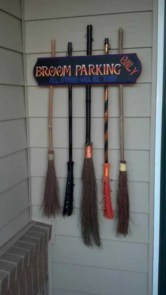 Halloween broom parking station