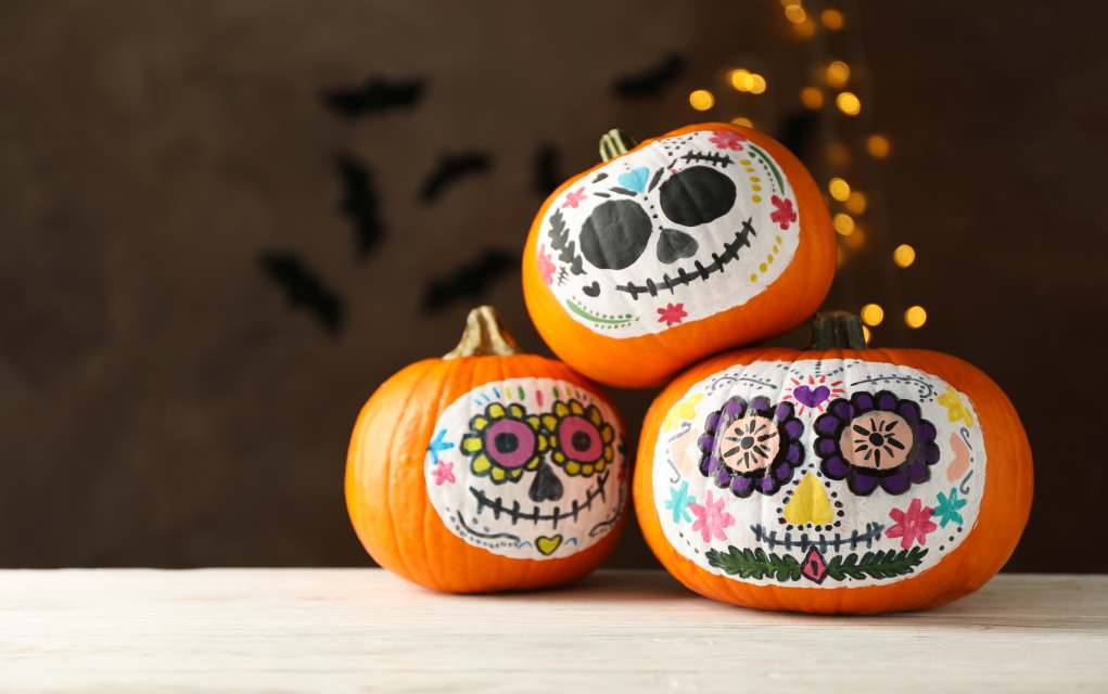 halloween decorations day of the dead painted pumpkins