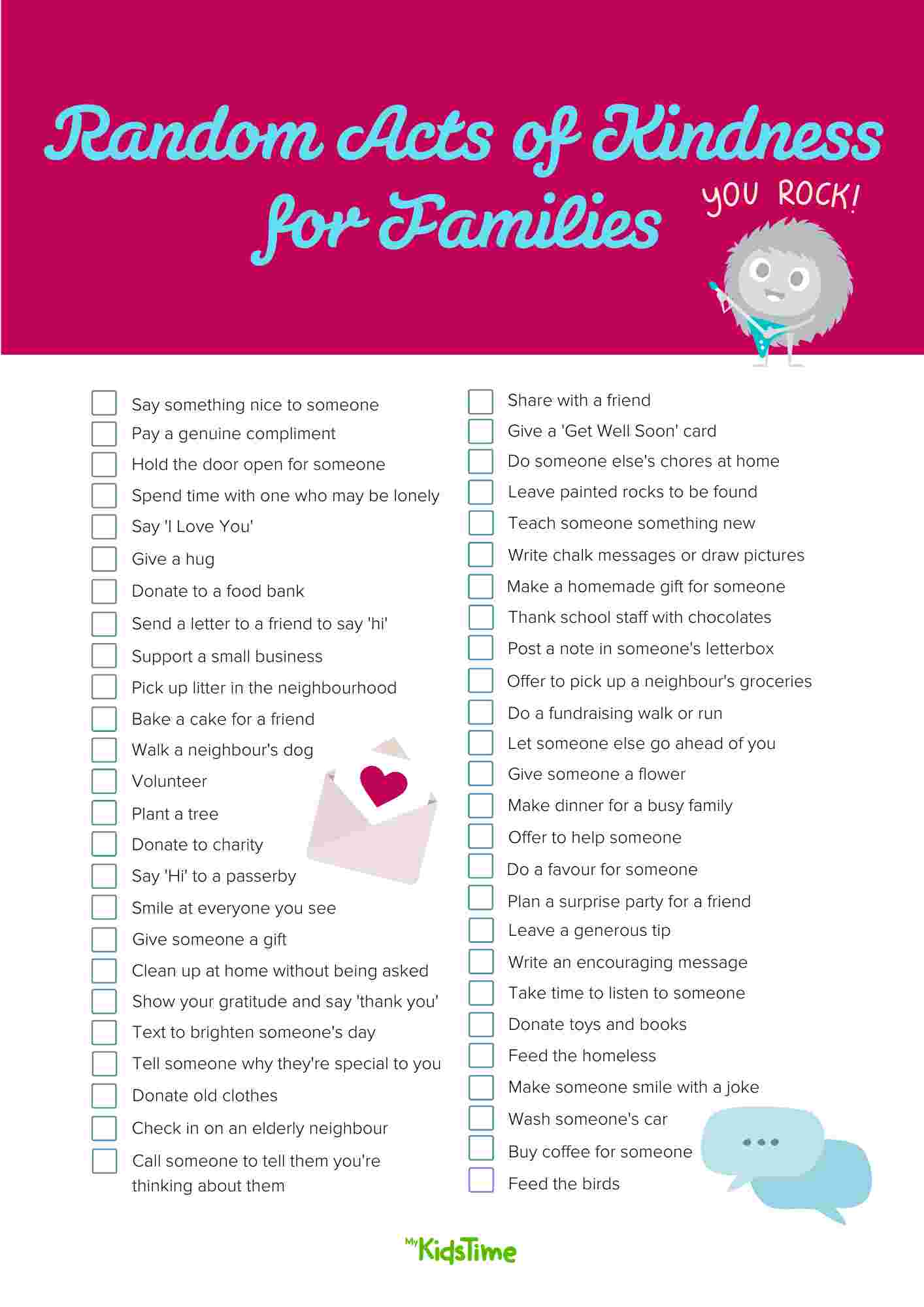 50+ Random Acts of Kindness for Families to Do Together - Mykidstime