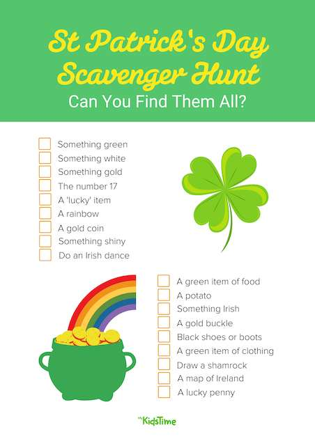St Patrick's Day Scavenger Hunt Download - Mykidstime