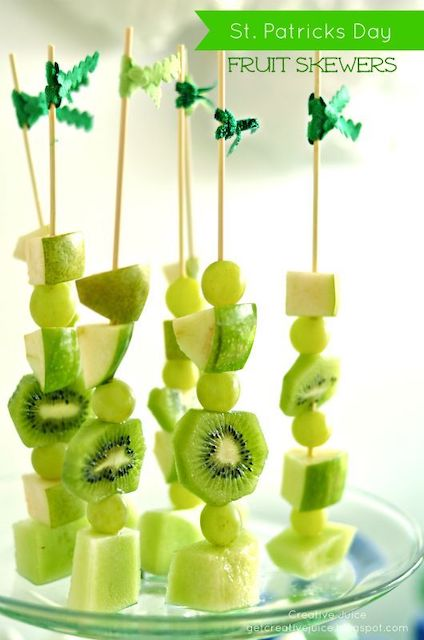 Green fruit skewers for St Patrick's Day