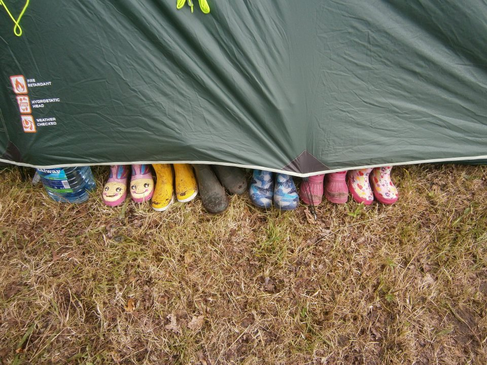 wellies and tent